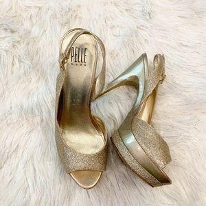 Pelle Moda Gold Gleam formal sparkle Peep Toe Slin